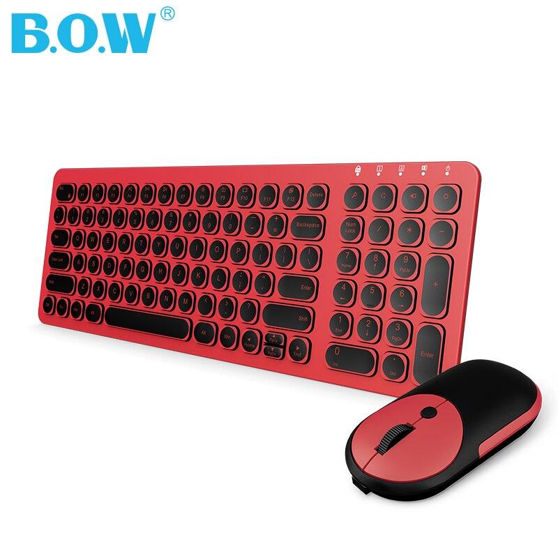B.O.W USB souris sans fil clavier Rechargeable moins bruyant clavier et souris Combo pour PC, ordinateur, ordinateur portable, Lenovo, Asus, HP