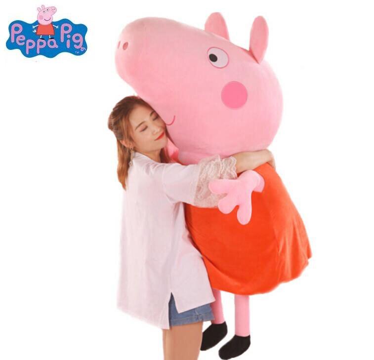 2018 hot 81 cm 32 ''véritable Peppa Pig très grande taille en peluche jouets Peppa en peluche enfants cadeau dessin animé en peluche collection en gros