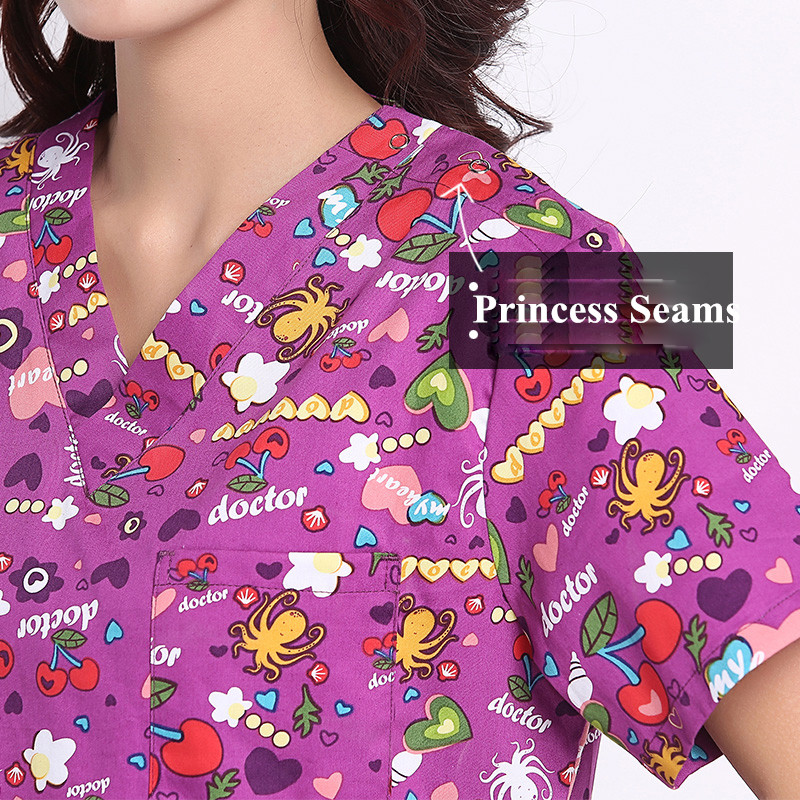 824bddc79d7 Purple Print Scrub Top 100% Cotton Flexible Cartoon V Neck Medical Clothing Hospital  Scrub Top Dental Charity Workwear Tops-in Scrub Tops & Bottoms from ...
