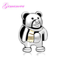 Bear Baby Zinc Alloy Charm Beads with Golden Scarf Handmade DIY Jewelry Accessories Amulet Fit Pandora Bracelet Necklace(China)