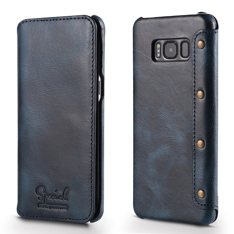 blue real leather case for samsung galaxy s8 genuine leather cover case