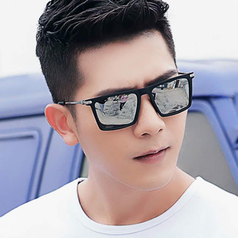 NerZhul Reflective Coating Mirror Sunglasses Man Black Sun Glasses For Male Classic Square Sunglasses For Men