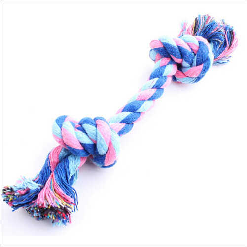 1ชิ้นสีสุ่มแฟชั่นน่ารักสีพาสเทลผ้าฝ้ายเชือกปมกระดูกเคี้ยวของเล่นลากจูงสำหรับสัตว์เลี้ยงสุนัขด็อกกี้