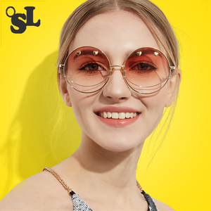 2019 الصيف جولة جديد نظارات تصميم الحب نمط النظارات الشمسية النساء أزياء كبير جولة الاتجاه النظارات الشمسية oculos دي سول