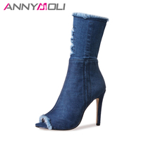 ANNYMOLI ג 'ינס מגפי נשים עיצוב מותג מגפי עקב גבוה בוהן ציוץ נעלי נשים מגפי סתיו חיתוך אמצע עגל 2017 גודל כחול 33-43