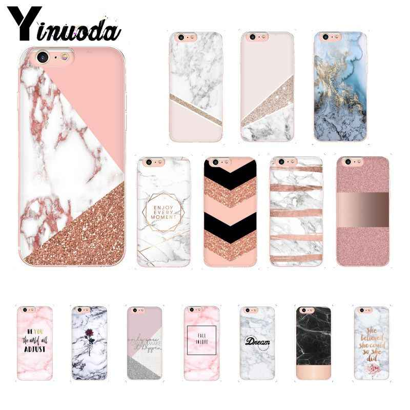Yinuoda Chic Pink Marble Pretty design Newly Arrived Phone Case for iPhone 8 7 6 6S Plus X XS MAX 5 5S SE XR 10 Cover
