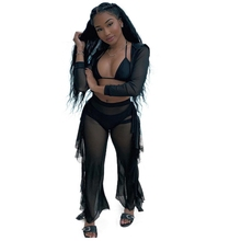 2019 Black Mesh Two Piece Set See Through Hoodies Crop Top Stringy Selvedge Ruffles Side Long Pants Sweat Suit Sexy Perspective