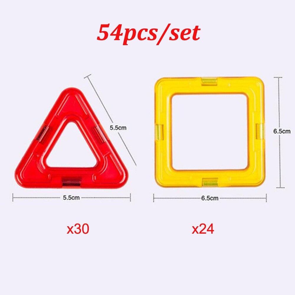 Construcción de bloques magnéticos de gran tamaño para niños, 54 piezas/juego, triángulo, ladrillos cuadrados educativos diseñador magnético, juguetes para niños, regalo