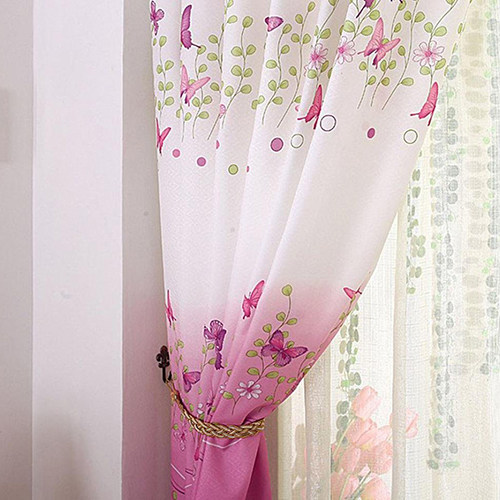Charmant Window Curtain Butterfly Pattern Calico Cloth Home Door Balcony Screen Sheer