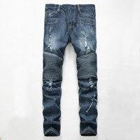Men Jeans Ripped Slim Fit Hip Hop Denim Trousers Men S Jeans Motorcycle Pants Punk Homme