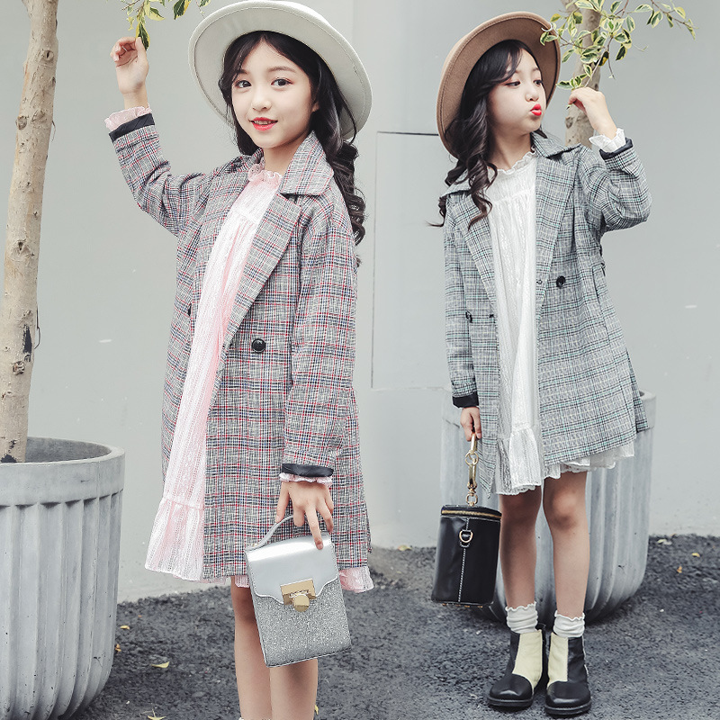 Girls Jackets Back To School Outfits Fall Kids Clothes 2018 Plaid Trench Coat For Girls Kids Teens Children Clothing Outwear 10