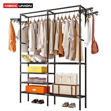 Magic Union Bedroom Coat Rack Floor Hanger Simple Clothes Storage Wardrobe Home Shelf Hangers Economical Drying Racks