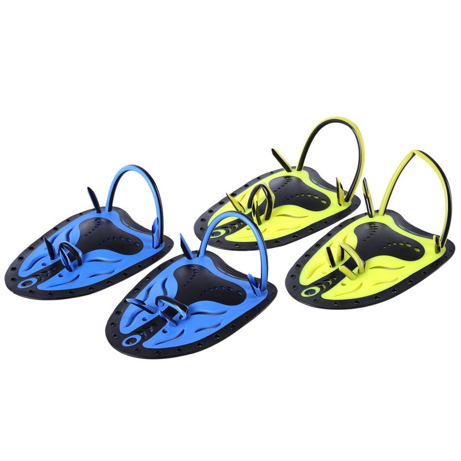 Кит 1 парные регулируемые плавники плавники плавники бассейн дайвинг оборудование неопреновые перчатки руки для мужчин женщин синий желтый цвет складной электровелосипед