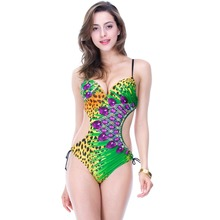 Ladies high quality monokini, 2016 new branded bathing suit with leopard and diamond print, free shipping