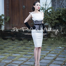 585e5e3bbf6 40- le palais vintage women lace velvet detail tank wiggle pencil dress in  white pinup