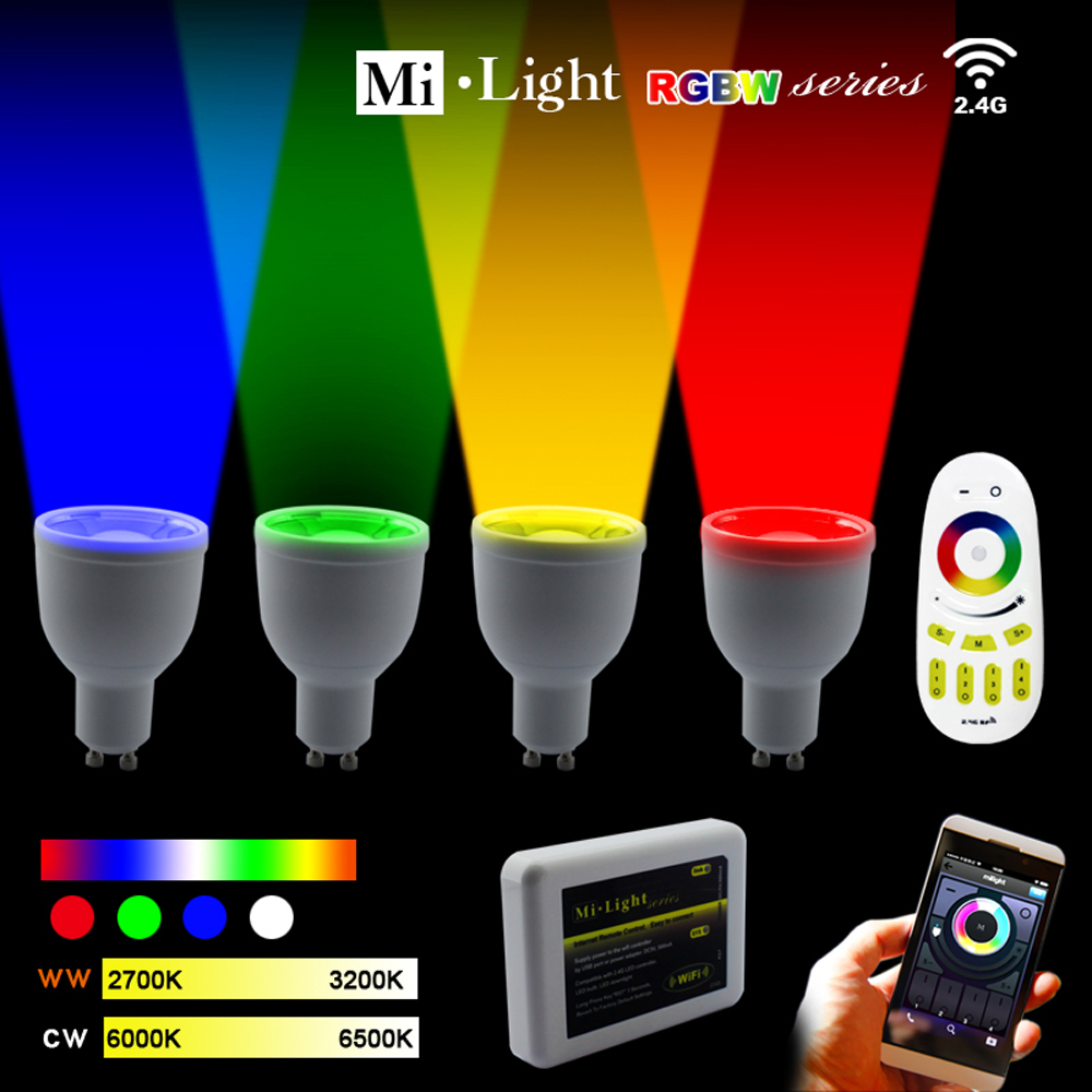 Milight LED light bulbs 2.4G Wireless GU10 RGBW wifi LED Dimmable Bulb Lamp RF Light-emitting diode Remote Wifi APP control pro high pressure airless paint spray gun machine power paint tools supplies