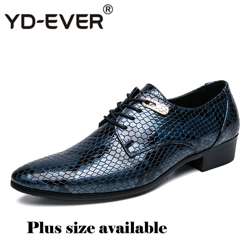 Plus Size Luxury Italian Style Fashion Mens Dress Leather Formal Shoes Snake Skin Dress Office Wedding Shoes Drop Shipping Men's Shoes