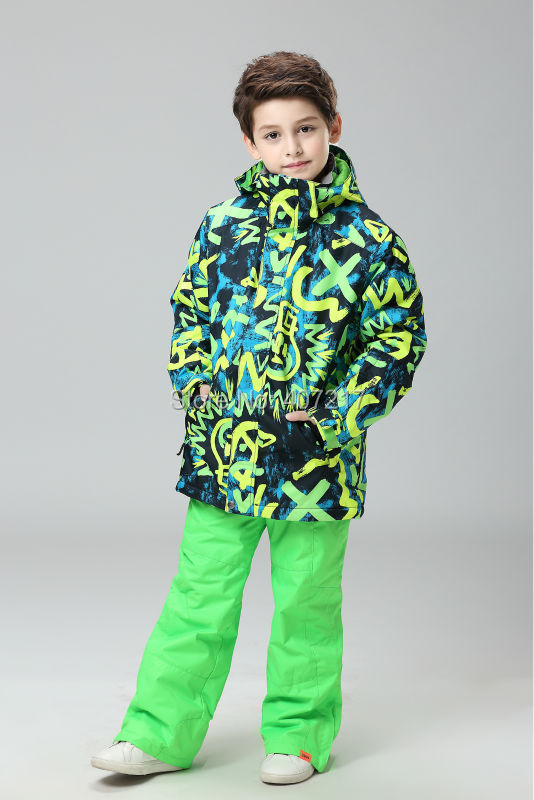 2016 NEW childrens green doodle ski suit boys snowboard suit kids skiing jackets pants skiwear anorak snow mountaineering suit