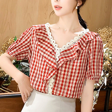 2019 Summer New V-neck Blouses Shirt loose Casual Women Tops Chiffon Lace V-Neck Plaid Fashion Shirts Feminine 17C7