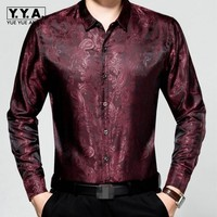 New Brand Mens Leisure Long Sleeves Spring Shirts Silk Thin Shirts For Male Business Gentlmen Classic