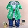Nuevo 2016 del otoño del resorte niños ropa de la historieta 3 unids bebé arropa sistemas niños ropa niños casual set suit boy