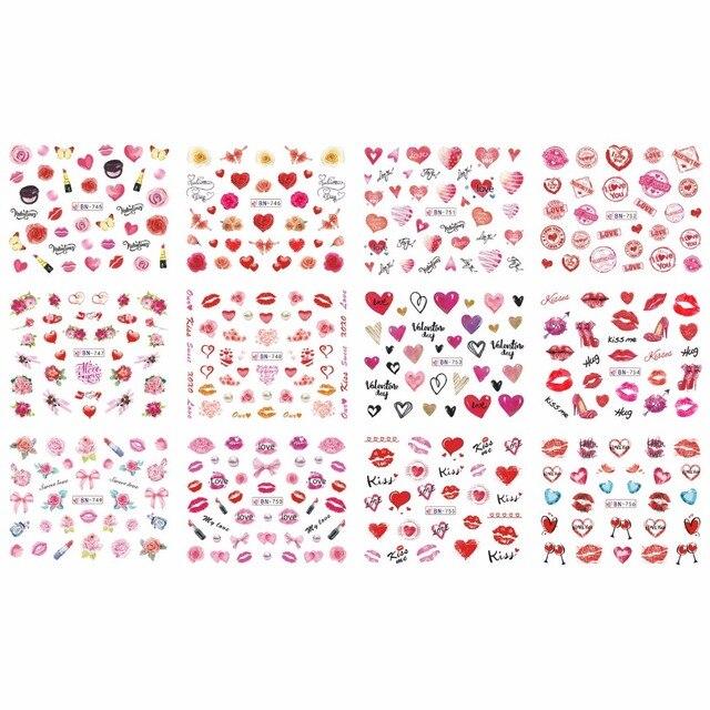 12 упак./лот переводка NAIL ART наклейки для ногтей на День святого Валентина Свадебный поцелуй сердце губы, с цветочным принтом «розы» со стразами BN745 756