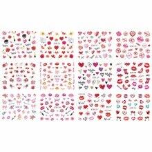 12 אריזות\מארז מים מדבקות ציפורניים אמנות נייל מדבקת ולנטיין חתונה נשיקת לב שפתיים פרח עלה יהלומי BN745 756