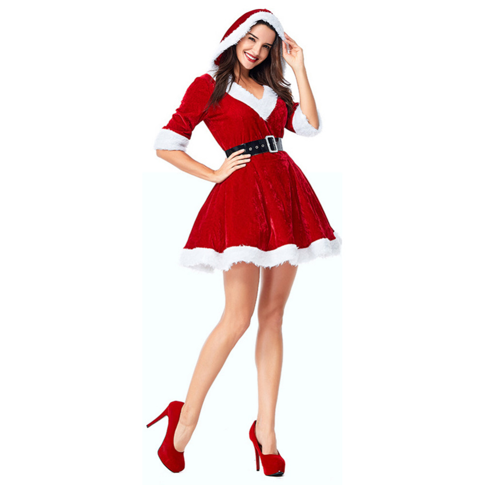 Christmas Women Sexy Dress For Party Costume Performance Clothing Santa Costume Adult Party Clothing