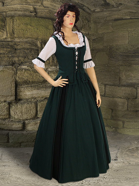 Fashion Dresses Accessories: Medieval Costume Gown Country Natural Cotton Handmade