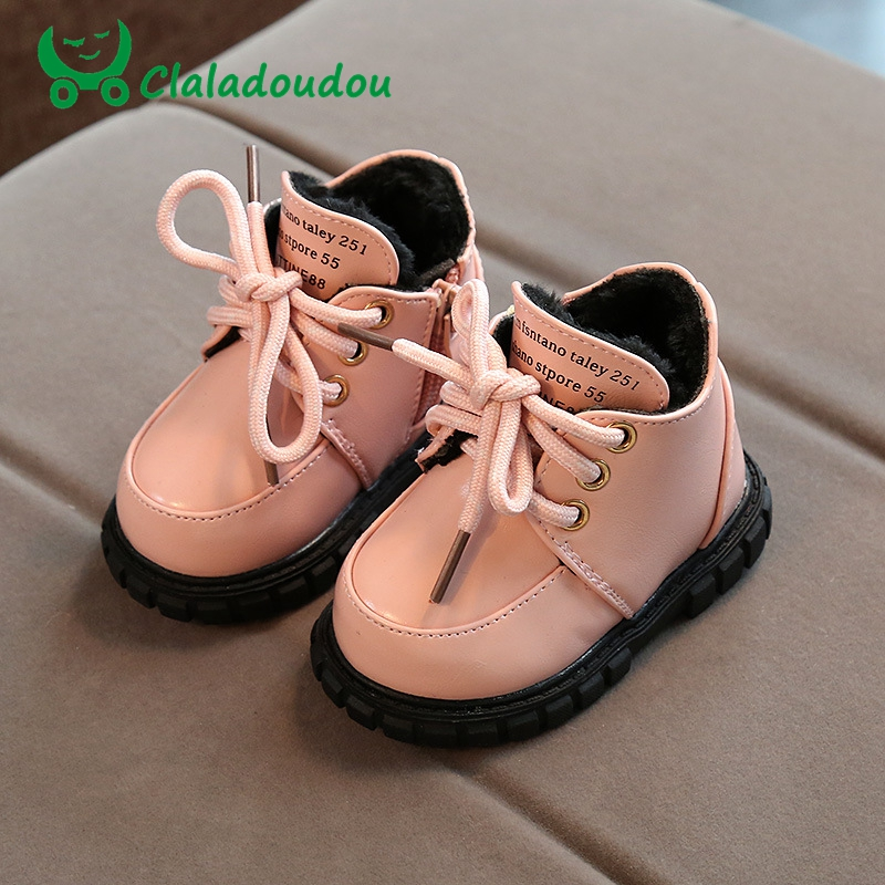 Claladoudou 11.5-13.5CM Baby PU Leather Winter Shoes Kids Girls Soft Warm Snow Boots Tod ...