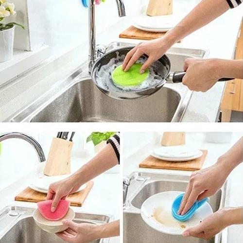 New Silicone Dish Washing Double Sided Scrubber Kitchen Cleaning Brush Pad Tool