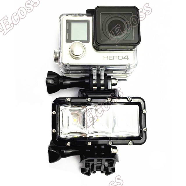 Accessories GoPro Underwater Light Diving waterproof LED video light+Battery& mount For GoPro Session Hero4 3+3 Xiaomi Yi SJ4000