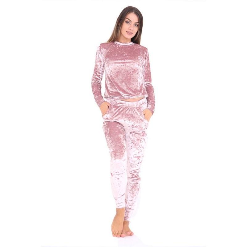 WJ Seksowne Kobiety Dres Ustawia 2017 Nowy Jesień Zima Moda Aksamitne długi Rękaw Bluzy Topy + Spodnie Wąskie Garnitury Femme 2 Sztuka Zestaw 6