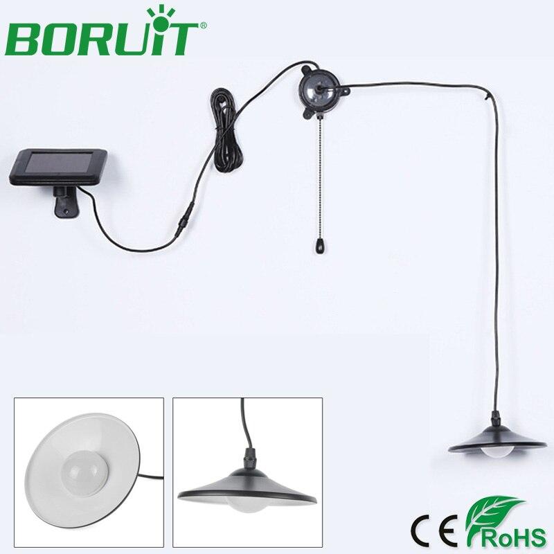 BORUiT Garden Solar Lamp Retro Pull Rope Switch Indoor Kitchen Pendant Light Remote Control Hanging Solar Lamp Energy Saving