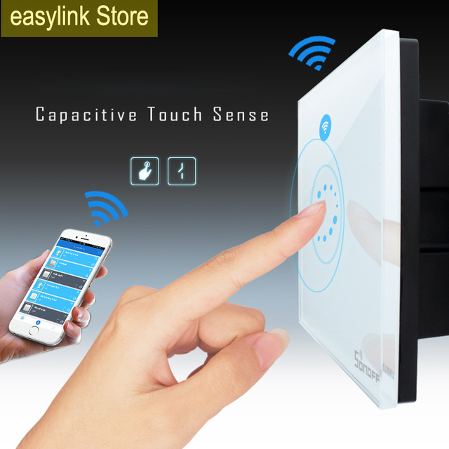 Itead Sonoff Wifi luxury Wall Touch Switch Wireless Remote Control EU US Glass Panel 1way Timing Switch  smart Home Automation