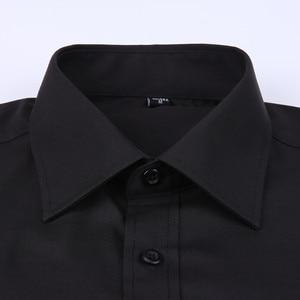 Image 3 - Clássico preto francês abotoaduras vestido de negócios masculino camisa de manga longa lapela camisa social 4xl 5xl 6xl ajuste de rotina
