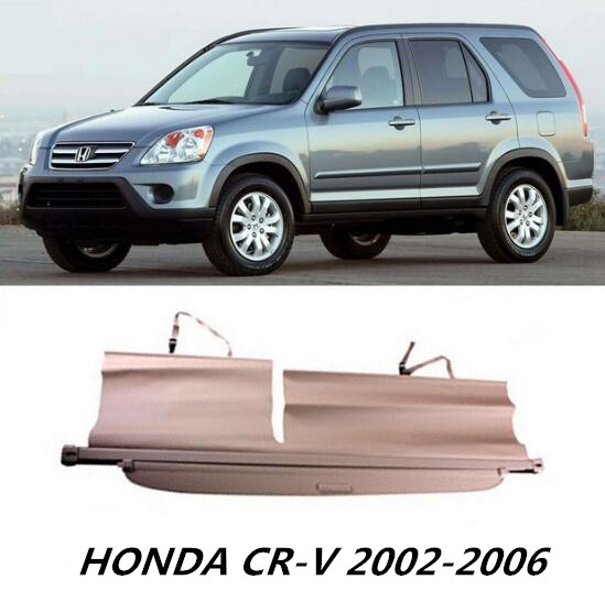 Car Rear Trunk Security Shield Shade Cargo Cover For HONDA CR-V CRV 2002 2003 2004 2005 2006 (Black beige) car rear trunk security shield cargo cover for subaru tribeca 2006 07 08 09 10 11 2012 high qualit black beige auto accessories