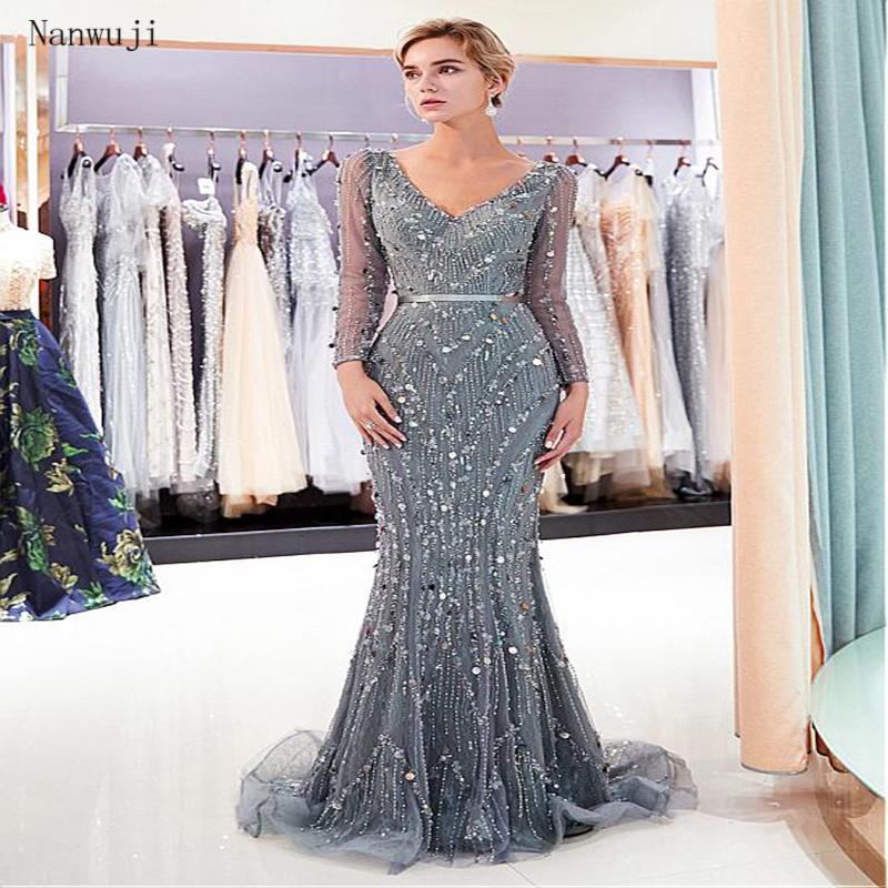 Beauty Crystal Beading Mermaid Grey   Evening     Dresses   Long Sleeve Beading Crystal Sparkly   Evening   Gown Backless Prom   Dress