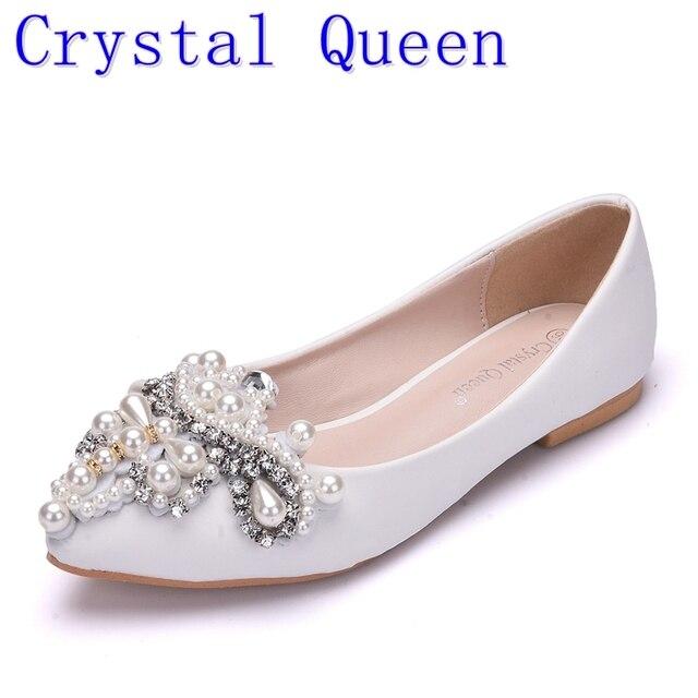 Cristal Reine Strass Perles Femmes Chaussures Chaussures Plates Pointu  Chaussures Femme Chaussures De Mariage Peu Profonde 9c18440565f4