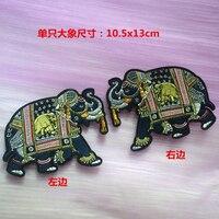 High Quality Elephant Applique Patch Vintage Embroidered Applique Sew On Patches For Clothes Parches Para La