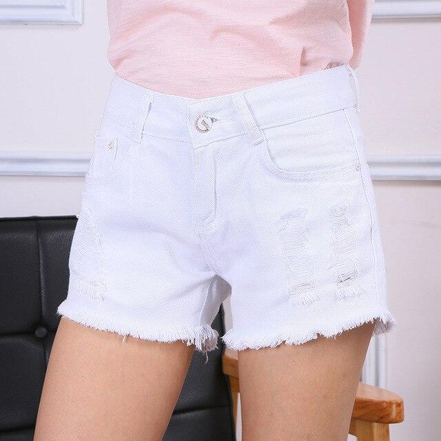Летние джинсовые шорты Середине талии Lager размер свободные шорты дикого отверстие края потертые Джинсовые шорты Женщин Белые Короткие Джинсы S2127