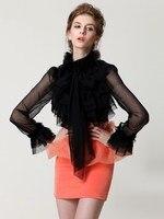 Women S Fashion High Neck Bow Tie Front Layered Ruffle Sheer Blouse Shirt