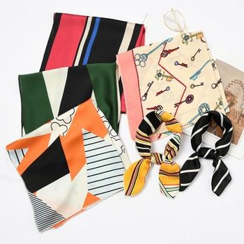 50*50cm Fashion Women Elegant Floral Silk Square Scarf Small Plain Neckerchief Handle Bag Ribbons Ladies Headband Hair Tie Band 6