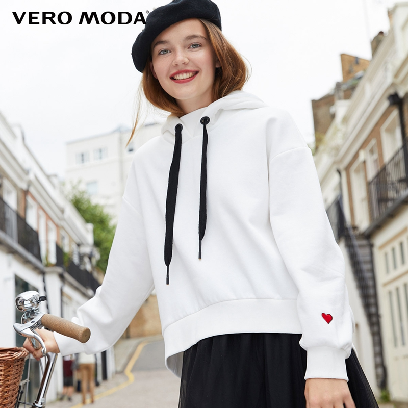 Vero Moda 2019 New Women's Hooded Drop-shoulder Drawstring Embroidered Loose Fit Hoodie | 318333525(China)