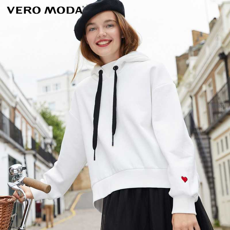 Vero Moda 2019 New Women's Hooded Drop-shoulder Drawstring Embroidered Loose Fit Hoodie | 318333525