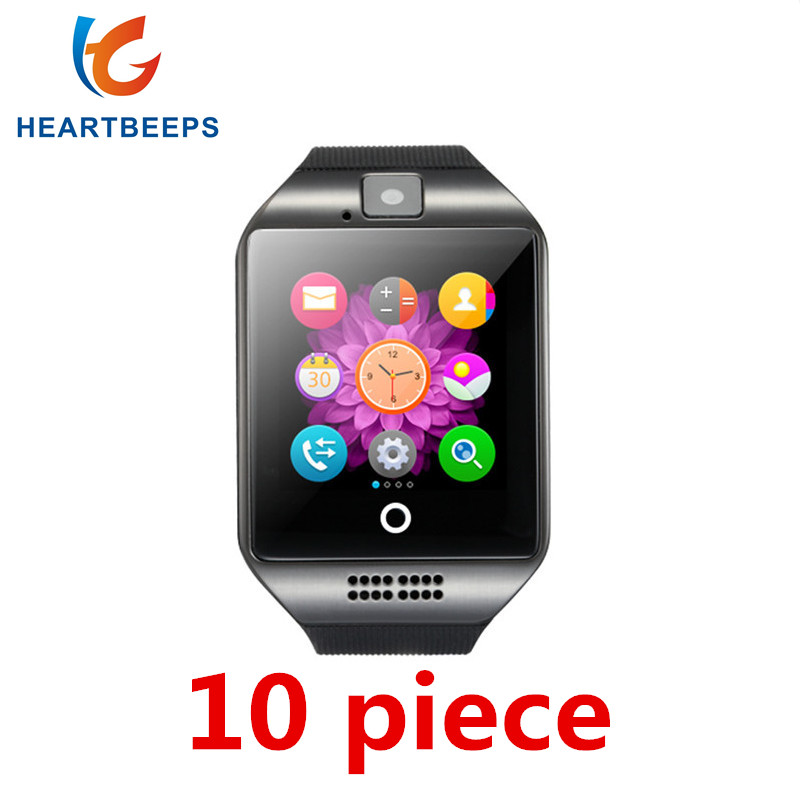 10piece Bluetooth Smart Watch Q18 With Camera Facebook Whatsapp Twitter Sync SMS Smartwatch Support SIM TF Card For Android