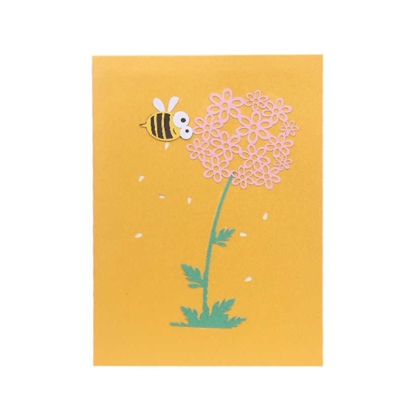 Bee flower greeting cards handmade birthday wedding invitation 3d bee flower greeting cards handmade birthday wedding invitation 3d pop up card w215 in cards invitations from home garden on aliexpress alibaba m4hsunfo