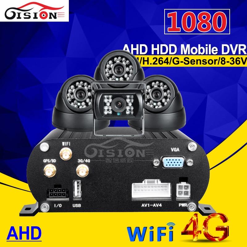4g gps wifi hdd disque dur ahd mobile dvr 4ch h.264 1080 p mdvr kits avec vue de nuit étanche caméra + intérieur voiture camers pour bus