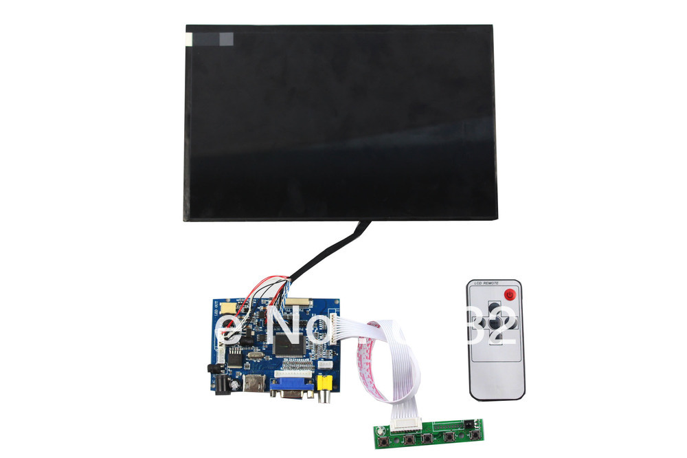 HDMI+VGA+2AV  LCD controller board+10.1 inch LCD panel 1280*800+LVDS cable +Remote control and receiver +OSD keypad with cable hdmi vga av lcd tv board 21 5 inch lcd panel lvds cable inverter with cable osd keypad board remote control
