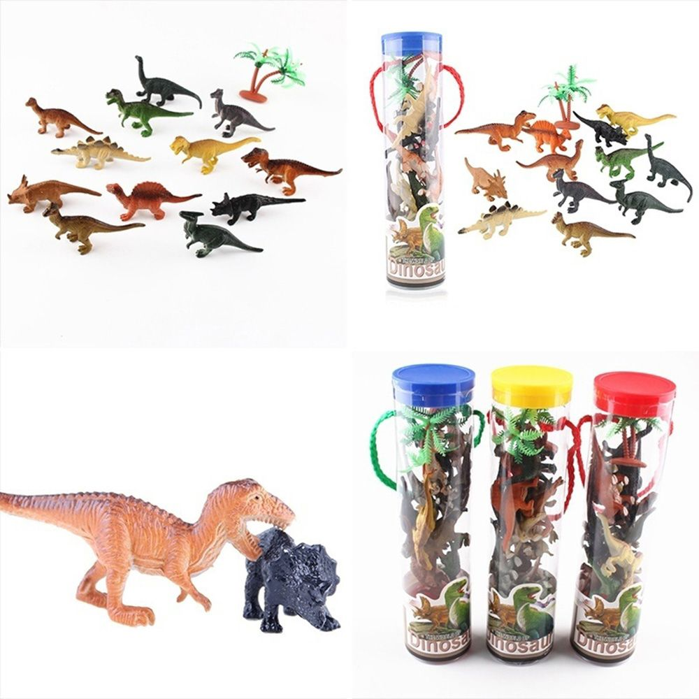 Buy Hot Sale 12PCS Dinosaur Assortment Model Kids Plastic Dinosaur Figure Toy Storage in Drum Table Decors Craft Small Novelty Gifts for only 6.5 USD